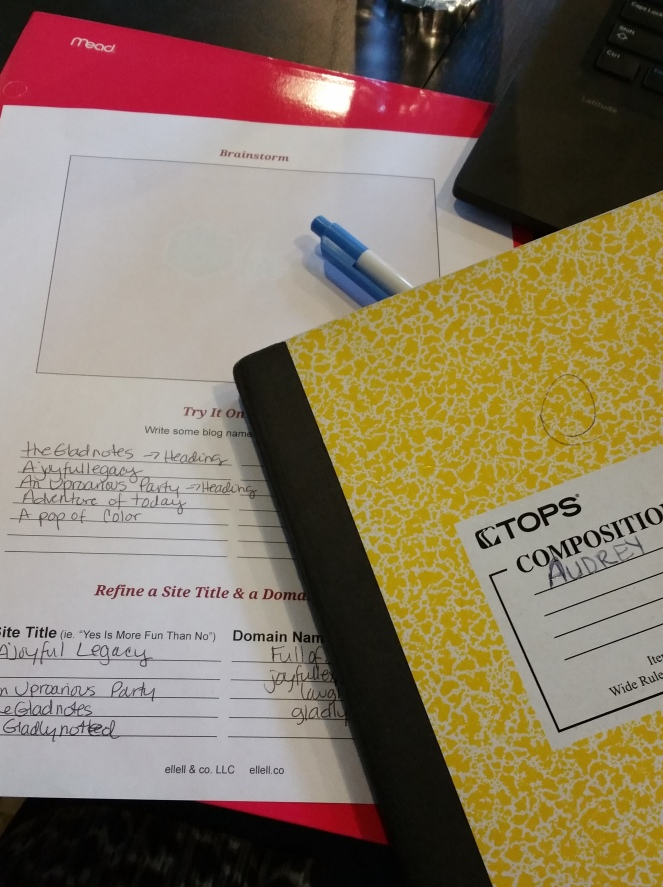 yellow notebook with brainstorm sheet